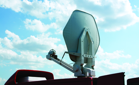 Television vehicle with parabolic antenna on the roof