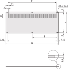 Rear Panel, perforated, for mounting on horizontal rails, unshielded