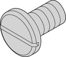 Screw, flathead, slotted, for drive units