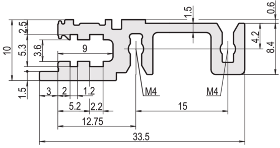 """Horizontal rail, front, type H-KD, """"heavy"""", short lip (EuropacPRO, RatiopacPRO, PropacPPR, CompacPRO)"""