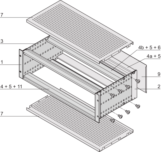 EuropacPRO kit, flexible design, shielded, for backplane mounting