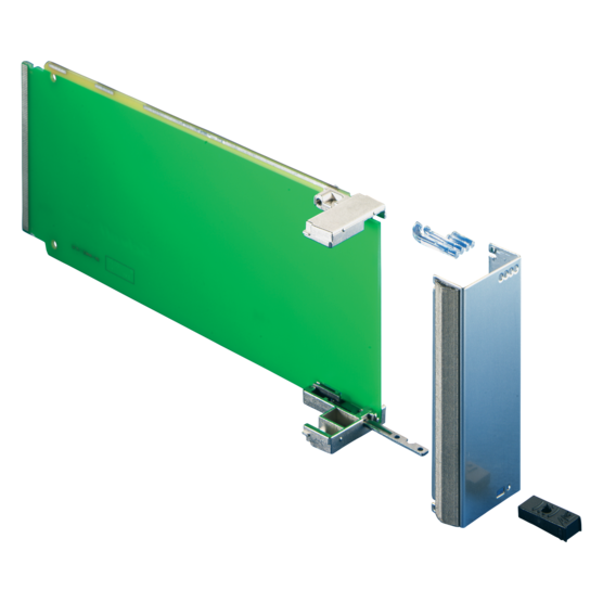 Front panel for module with pull handle mechanism, PICMG AMC.0 R2.0
