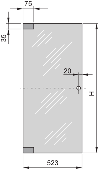 Glass door (Eurorack) 120° and 180° opening angle