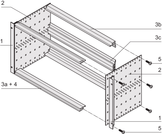 EuropacPRO kit, flexible design, unshielded, for connector mounting, assembly on slide rail