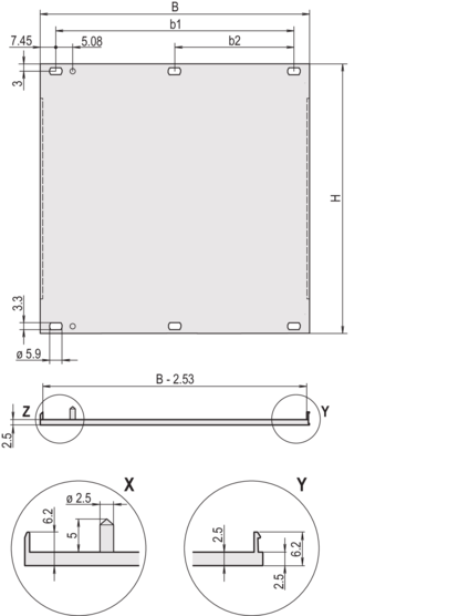 Front panel, front anodized, rear etched, shieldable (textile), screw assembly