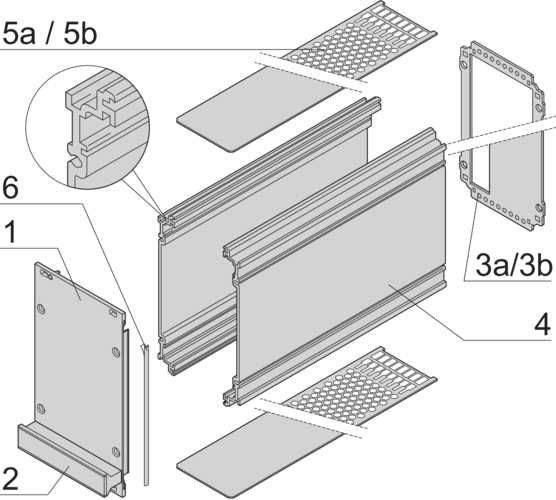 Frame type plug in unit kit, shielded (textile), without perforations, rear cutout for single connector 3/6 U