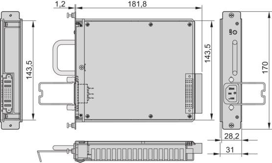 """19"""" AC/DC switch-mode PSUs for MicroTCA, double full‐size, withoutmanagement"""