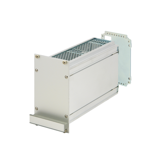 Frame type plug in unit kit, unshielded, with perforations, rear cutout for single connector 3/6 U