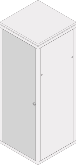 Steel door (Eurorack), 120° and 180 ° opening angle, RAL 7035 / RAL 7021