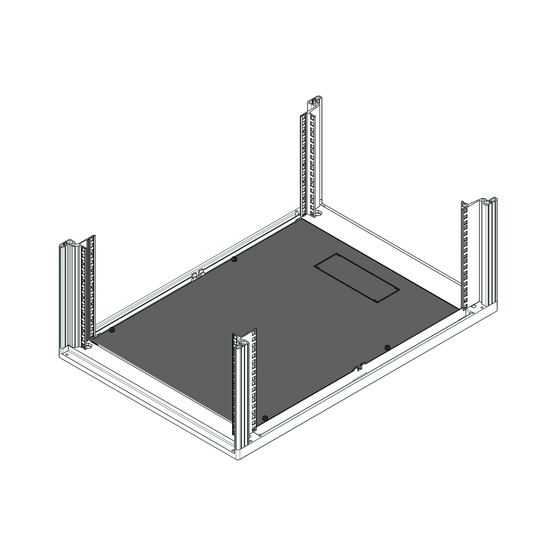 Base plate, single piece, reinforced, with cutouts for cable ducting (Novastar)