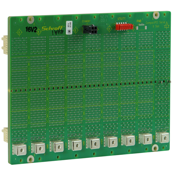 Rear view, CPCI Serial Backplane, 3 U, 9 Slot, System Slot Left, Full-Mesh, Without RIO