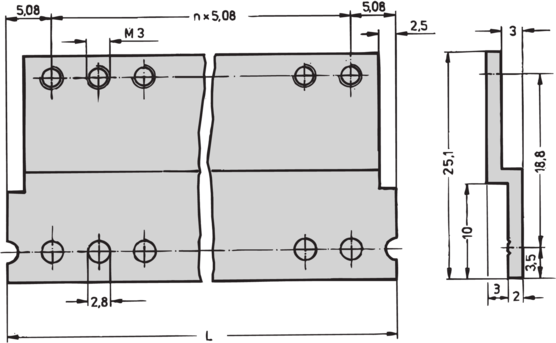 Z-rails for connector DIN 41617, 31-pin (RatiopacPRO/-air, PropacPRO, CompacPRO, EuropacPRO)