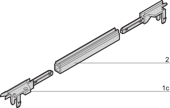 Guide rails, one-piece, for 4.4-inch PCBs (EuropacPRO)
