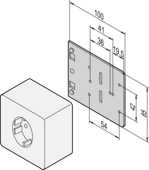 Mounting plate for single sockets