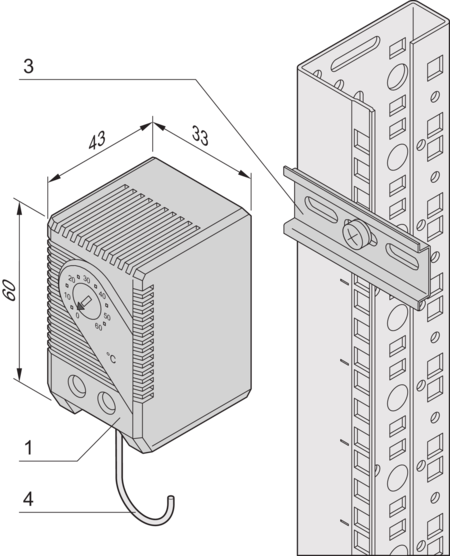 Thermostat with integrated temperature sensor