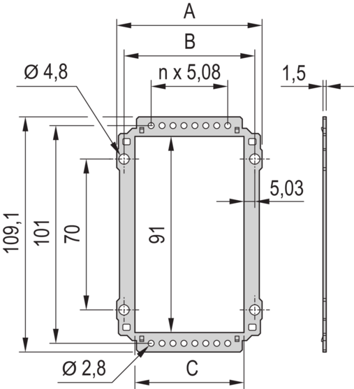 Rear Panel, with cut-out for multiple connectors