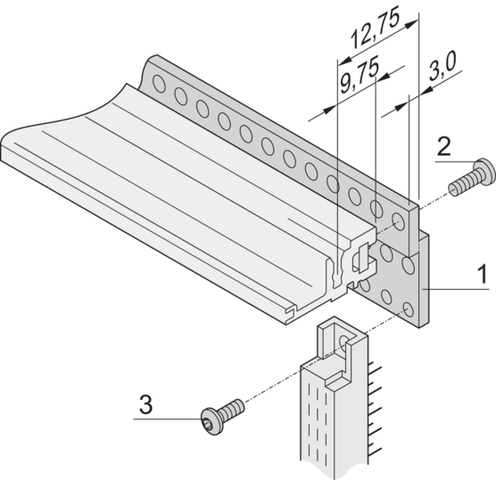 Z-rail for connector, EN 60603-2 (DIN 41612) [RatiopacPRO/-air, PropacPRO, CompacPRO, EuropacPRO]