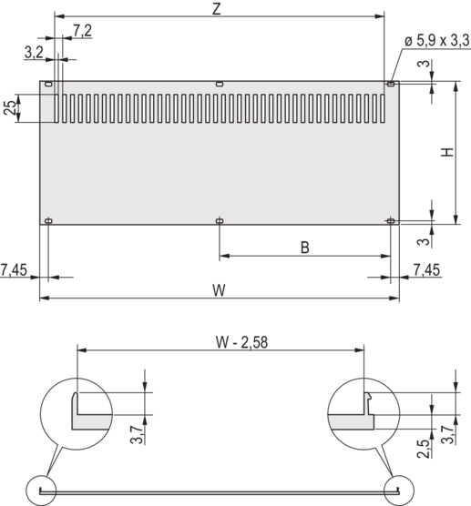Rear Panel, perforated, shieldable (textile)