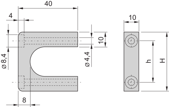 Front handle, one-piece, width 10 mm (MultipacPRO)