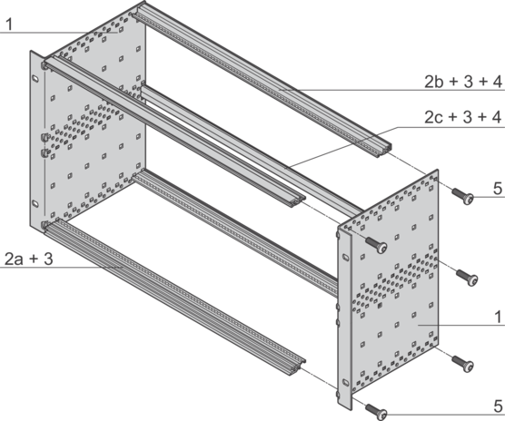 EuropacPRO kit, light design, unshielded, for backplane mounting