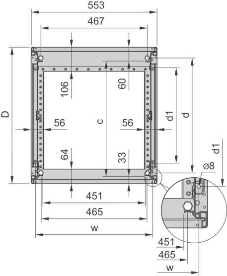 Novastar, cabinet without doors, RAL 7021 / RAL 7021/7035