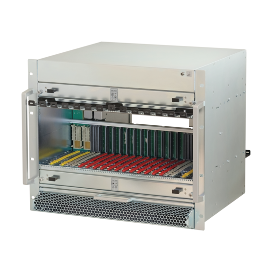 MicroTCA.4 system, 9 U, 84 HP, for 12 double mid-size AMCs, White Rabbit, JSM slot