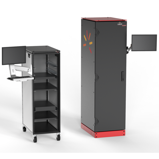 Adjustable Monitor Arm (with/without keyboard tray) with monitor mounted to two cabinets