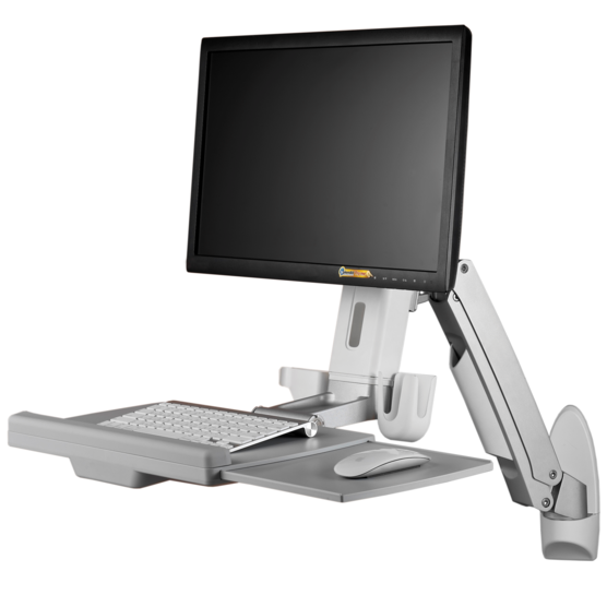 Adjustable Monitor Arm with Keyboard Tray (with mounted Monitor)