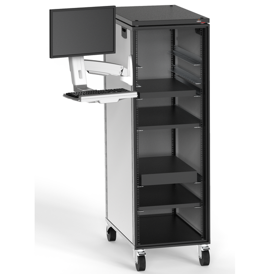 Adjustable Monitor Arm with Keyboard Tray mount to cabinet (with mounted monitor)
