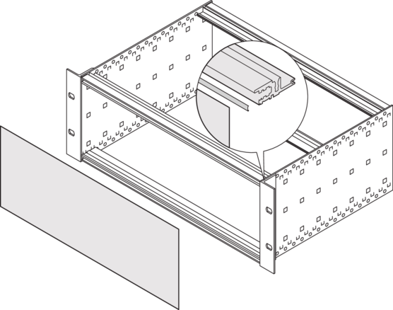 EMC shielding - stainless steel, front/rear panel to horizontal rail (RatiopacPRO/-air, PropacPRO, EuropacPRO/-rugged)