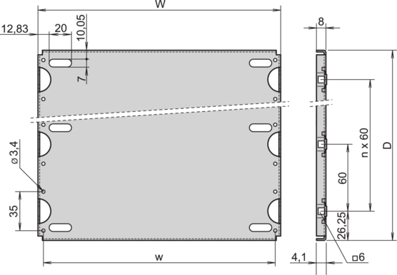 Mounting plate in combination without cover plate (RatiopacPRO/-air, CompacPRO, EuropacPRO)