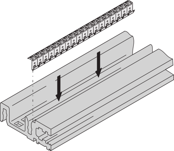 EMC shielding - stainless steel, cover plate to horizontal rail (EuropacPRO/-rugged)