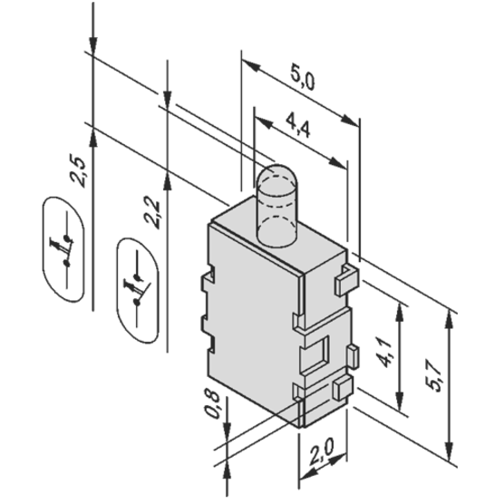 Microswitch for carrier (mid-size AdvancedMC modules)