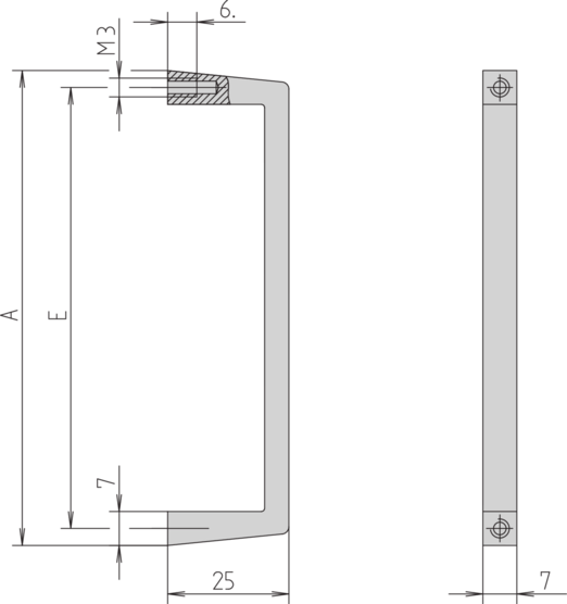 Front handle, one-piece, width 7 mm